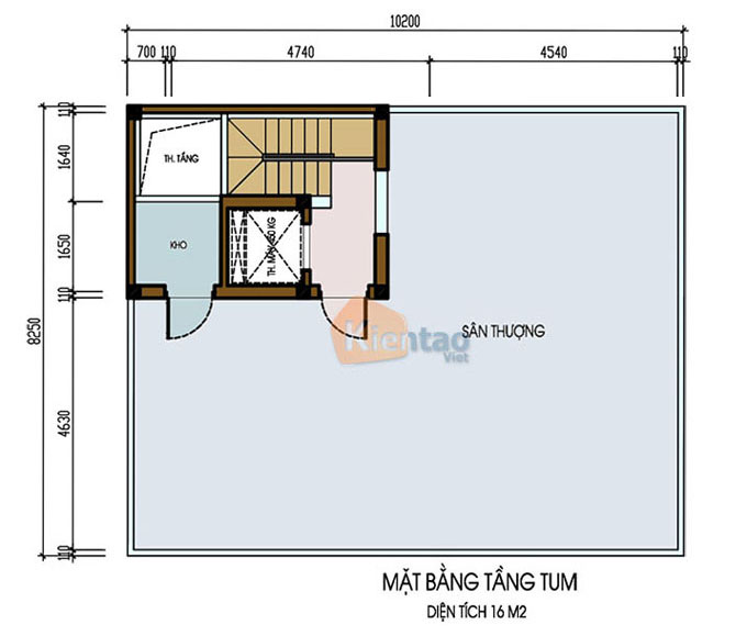 Mẫu nhà ống chung cư mini cho thuê 6 tầng 8.25x9.5m tại Thanh Trì, Hà Nội - Công năng tầng tum