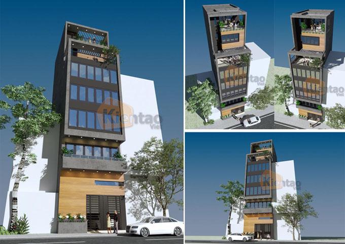 Mẫu nhà ống kết hợp kinh doanh 7.5 tầng 6.5x12m tại Ba Đình, Hà Nội - Phối cảnh tổng hợp