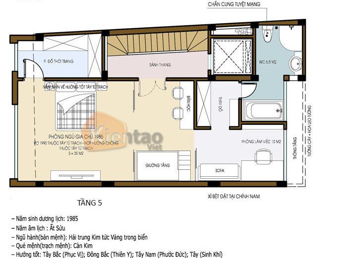 kết hợp kinh doanh 7.5 tầng 6.5x12m tại Ba Đình, Hà Nội - Công năng tầng 5