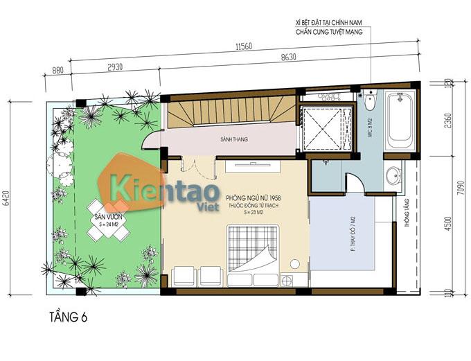 kết hợp kinh doanh 7.5 tầng 6.5x12m tại Ba Đình, Hà Nội - Công năng tầng 6