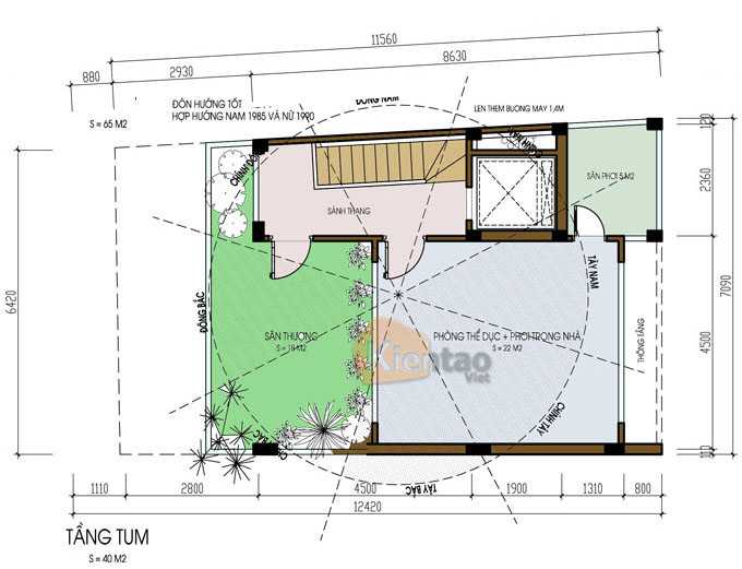 kết hợp kinh doanh 7.5 tầng 6.5x12m tại Ba Đình, Hà Nội - Công năng tầng tum