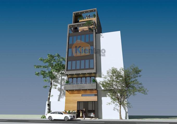 Mẫu nhà ống kết hợp kinh doanh 7.5 tầng 6.5x12m tại Ba Đình, Hà Nội - Phối cảnh 01