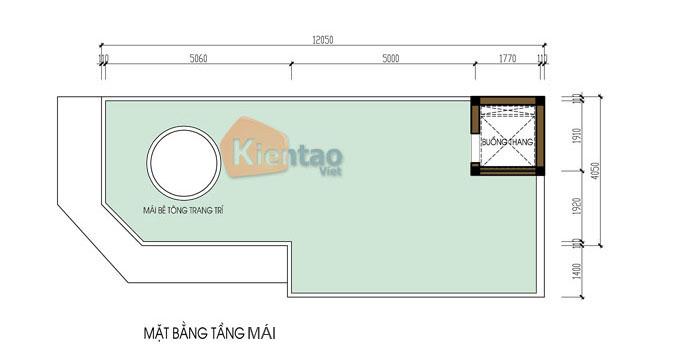Mẫu nhà ống lô góc 6 tầng 4x12m tân cổ điển tại Hà Đông, Hà Nội - Công năng tầng mái