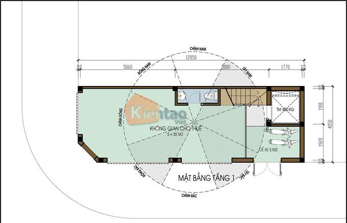 Mẫu nhà ống lô góc 6 tầng 4x12m tân cổ điển tại Hà Đông, Hà Nội - Công năng tầng 1