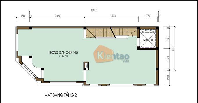 Mẫu nhà ống lô góc 6 tầng 4x12m tân cổ điển tại Hà Đông, Hà Nội - Công năng tầng 2