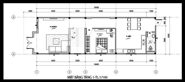 Mẫu nhà phố 2 tầng cách tân mặt tiền 5m - mặt bằng tầng 1