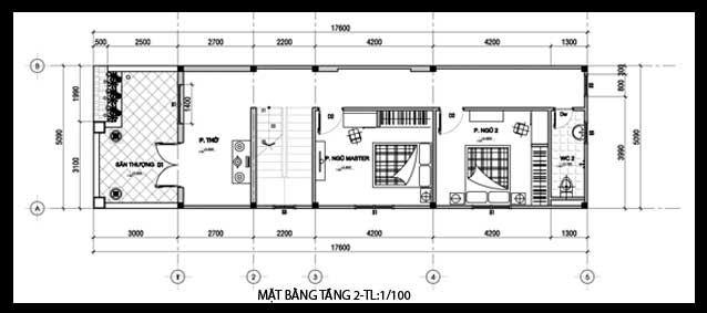 Mẫu nhà phố 2 tầng cách tân mặt tiền 5m - Mặt bằng tầng 2