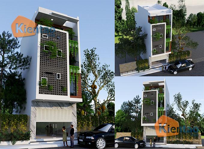 Mẫu nhà phố đẹp hiện đại 4 tầng 5x13m tại Thường Tín, Hà Nội - Phối cảnh 01