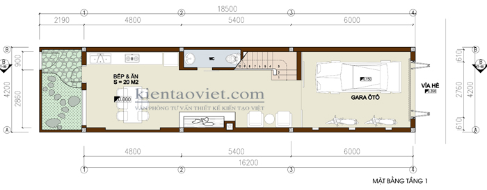 Mẫu thiết kế nhà lô phố lệch tầng. Mặt bằng tầng 1