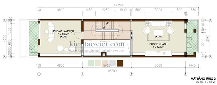Mẫu thiết kế nhà lô phố lệch tầng. Mặt bằng tầng 2