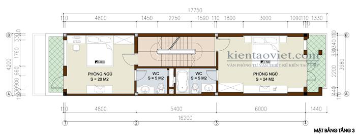 Mẫu thiết kế nhà lô phố lệch tầng. Mặt bằng tầng 3
