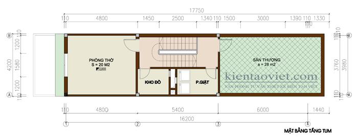 Mẫu thiết kế nhà lô phố lệch tầng. Mặt bằng tầng tum