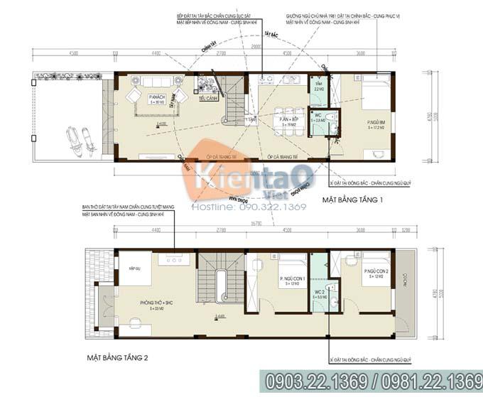 Thiết kế nhà ống đẹp 2 tầng 3 phòng ngủ 5x15.5m