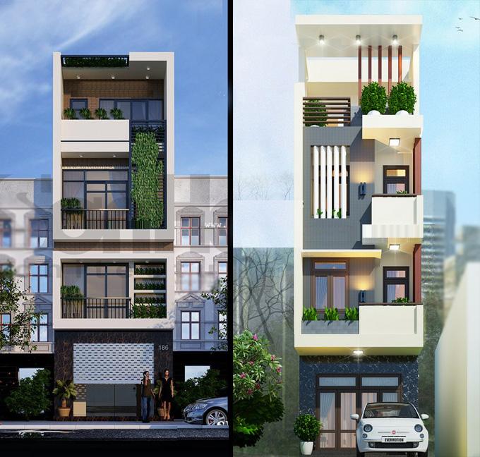 Hình ảnh mẫu nhà ống 4 tầng mặt tiền 5m - 5,9m hiện đại, cổ điển và tân cổ điển - 01