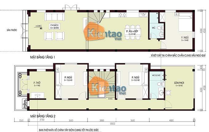 Bản vẽ nhà ống 2 tầng 3 phòng ngủ diện tích 4.5x18m