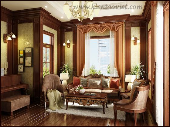 Nội thất biệt thự cổ điển nhà chú Thịnh tại Sóc Sơn - Phòng khách 05
