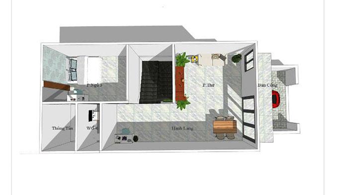 mặt bằng nhà phố diện tích 5x20m