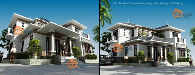 Phối cảnh kiến trúc mẫu biệt thự đẹp 2 tầng 3 tầng 4 tầng khác của Kiến Tạo Việt - PC 01