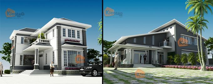 Phối cảnh kiến trúc mẫu biệt thự đẹp 2 tầng 3 tầng 4 tầng khác của Kiến Tạo Việt - PC 02