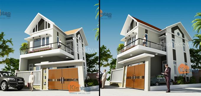 Phối cảnh kiến trúc mẫu biệt thự đẹp 2 tầng 3 tầng 4 tầng khác của Kiến Tạo Việt - PC 03
