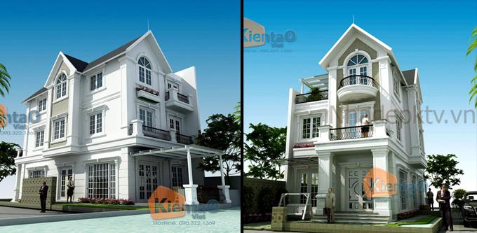 Phối cảnh kiến trúc mẫu biệt thự đẹp 2 tầng 3 tầng 4 tầng khác của Kiến Tạo Việt - PC 08
