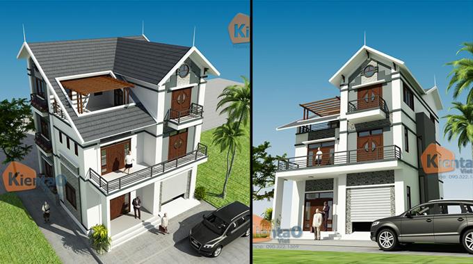 Phối cảnh kiến trúc mẫu biệt thự đẹp 2 tầng 3 tầng 4 tầng khác của Kiến Tạo Việt - PC 09