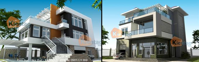 Phối cảnh kiến trúc mẫu biệt thự đẹp 2 tầng 3 tầng 4 tầng khác của Kiến Tạo Việt - PC 15