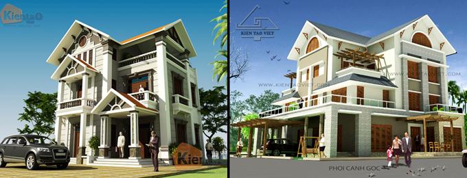 Phối cảnh kiến trúc mẫu biệt thự đẹp 2 tầng 3 tầng 4 tầng khác của Kiến Tạo Việt - PC 12