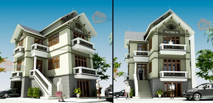 Phối cảnh kiến trúc mẫu biệt thự đẹp 2 tầng 3 tầng 4 tầng khác của Kiến Tạo Việt - PC 11
