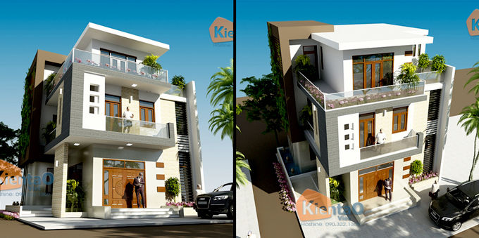 Phối cảnh kiến trúc mẫu biệt thự đẹp 2 tầng 3 tầng 4 tầng khác của Kiến Tạo Việt - PC 16