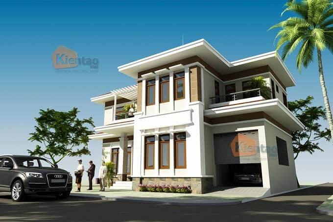 Phối cảnh 01: Thiết kế biệt thự 2 tầng tại Vĩnh Phúc