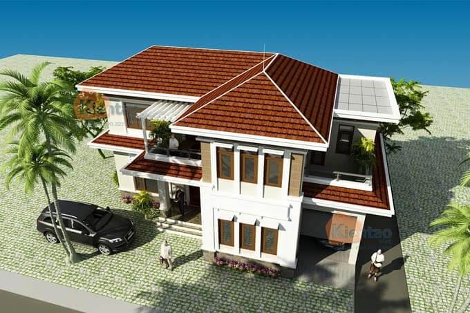 Phối cảnh 02: Thiết kế biệt thự 2 tầng tại Vĩnh Phúc