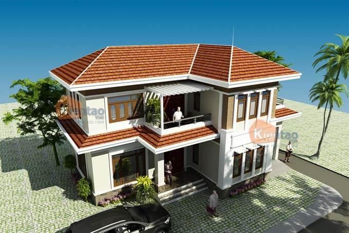 Phối cảnh 03: Thiết kế biệt thự 2 tầng tại Vĩnh Phúc