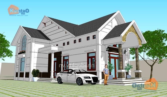 Thiết kế biệt thự mini 1 tầng có gác lửng ở nông thôn giá 600 triệu hình chữ L - PC 01