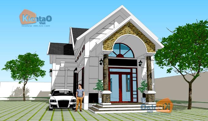 Thiết kế biệt thự mini 1 tầng có gác lửng ở nông thôn giá 600 triệu hình chữ L - PC 02