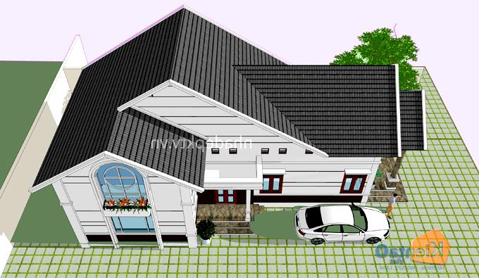 Thiết kế biệt thự mini 1 tầng có gác lửng ở nông thôn giá 600 triệu hình chữ L - PC 03