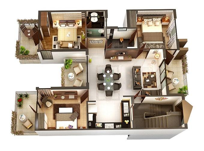 mẫu nhà 1 tầng 3 phòng ngủ giá rẻ