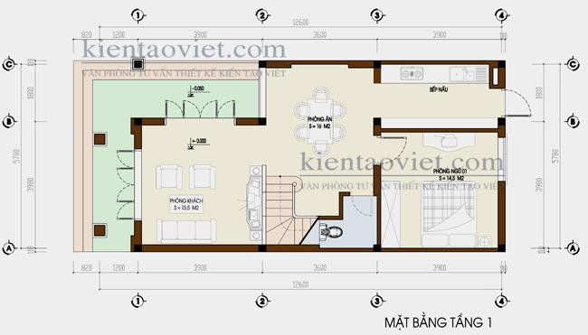Thiết kế nhà lô phố đẹp diện tích 66m2. Mặt bằng tầng 1