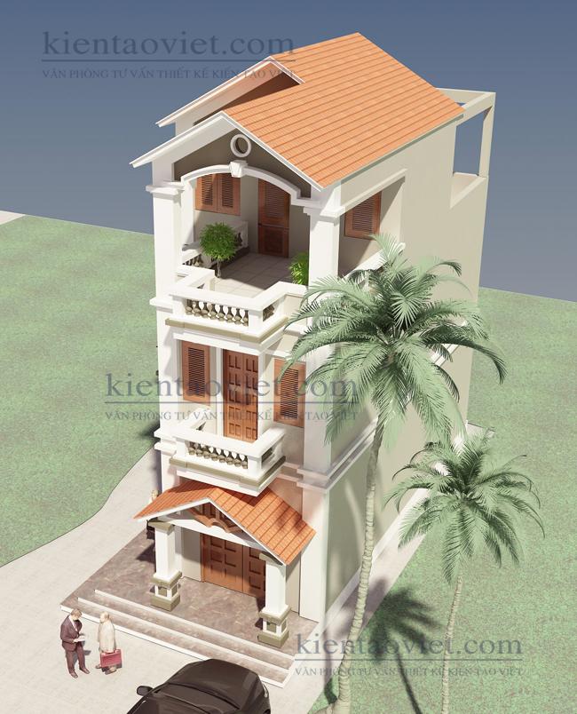Thiết kế nhà lô phố đẹp diện tích 66m2. Góc 2