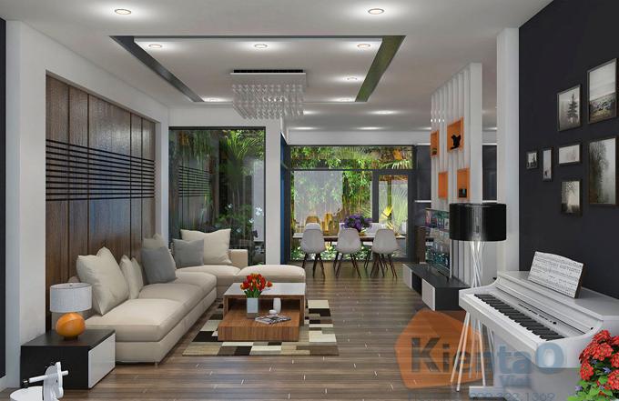 Mẫu thiết kế nhà ống hiện đại 3 tầng 7,5x12,5m tại Đà Nẵng chi phí 1,1 tỷ đồng - Nội thất phòng khách 01