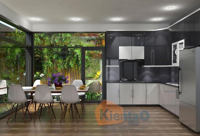 Mẫu thiết kế nhà ống hiện đại 3 tầng 7,5x12,5m tại Đà Nẵng chi phí 1,1 tỷ đồng - Nội thất phòng bếp ăn