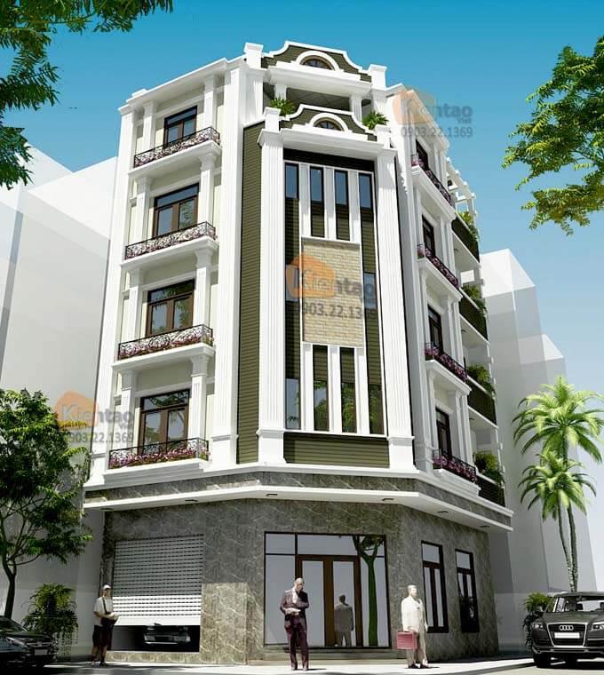 Thiết kế kiến trúc nhà phố 5 tầng tại Bắc Ninh