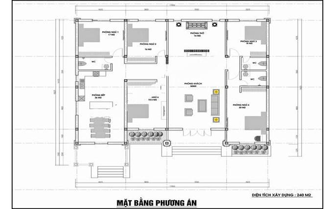 thiết kế nhà vườn 1 tầng 5 phòng ngủ