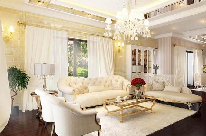 Màu sắc trong thiết kế nội thất biệt thự tân cổ điển