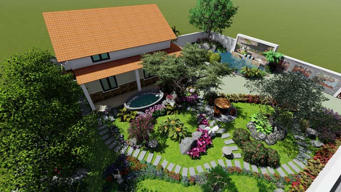Thiết kế sân vườn tiểu cảnh nhà cấp 4