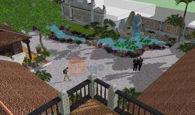 Mẫu tiểu cảnh sân vườn đẹp cho nhà thờ họ ở Hà Nam