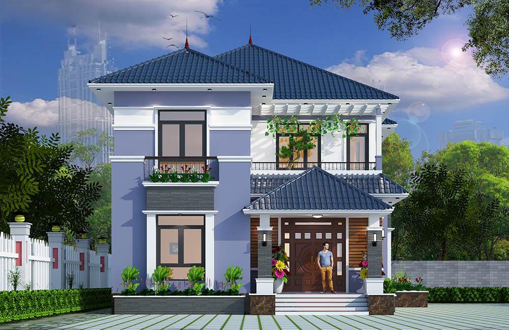 Thiết kế biệt thự mái Nhật có vườn treo đẹp trang nhã