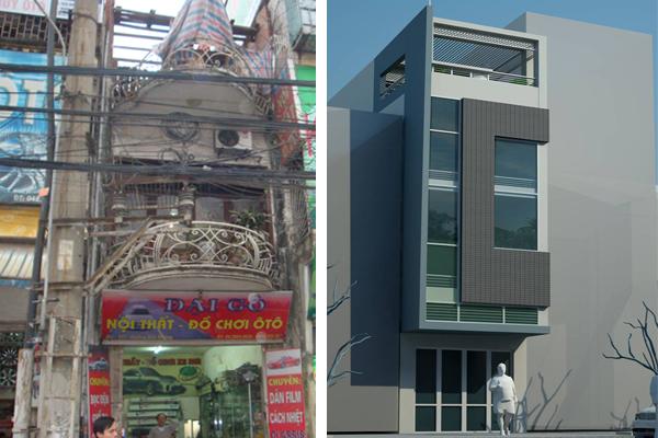 Cải tạo nhà ống cũ 2 tầng lên 4 tầng rộng 4X15m - Phối cảnh 01