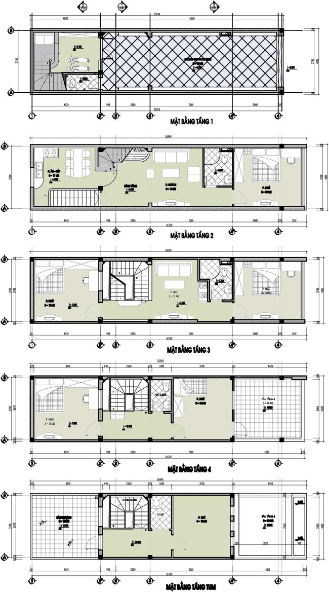 Cải tạo nhà ống cũ 2 tầng lên 4 tầng rộng 4X15m - Mặt bằng cải tạo