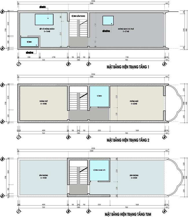 Cải tạo nhà ống cũ 2 tầng lên 4 tầng rộng 4X15m - Mặt bằng hiện trạng